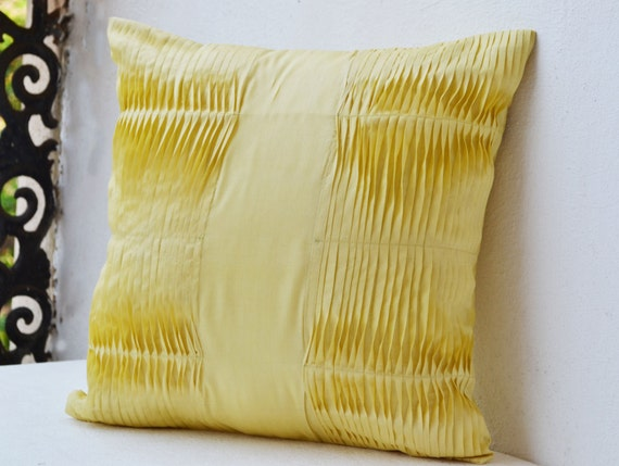 Items Similar To Decorative Pillow With Pleats, Yellow