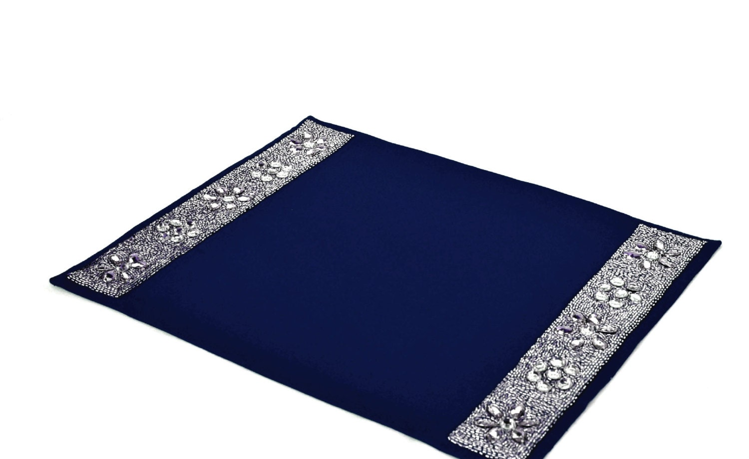 Navy blue placemats with diamond glaze table placemats with for Table placemats