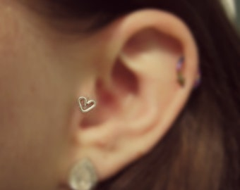 Sterling Silver Heart Shaped Tragus Earring 20 gauge