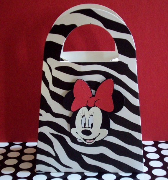 Minnie Mouse Zebra Print Baby Shower: Red Bow Minnie Mouse Zebra Print Favor Treat By
