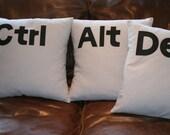 Set of three GREY ' Ctrl Alt Del ' cushion pillow cover set 16'' computer keys