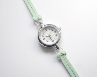 Pastel Mint Green Suede Bracelet Watch