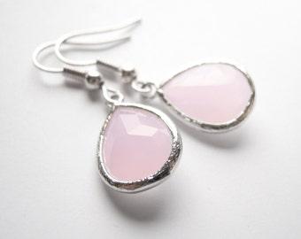 Pastel Pink Silver Framed Glass Earrings