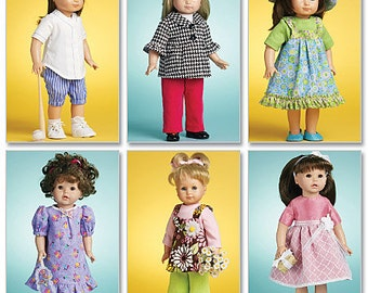 "McCalls 6137 Doll Clothes Sewing Pattern, 18"" Doll Clothes pattern, American Doll Clothes pattern"