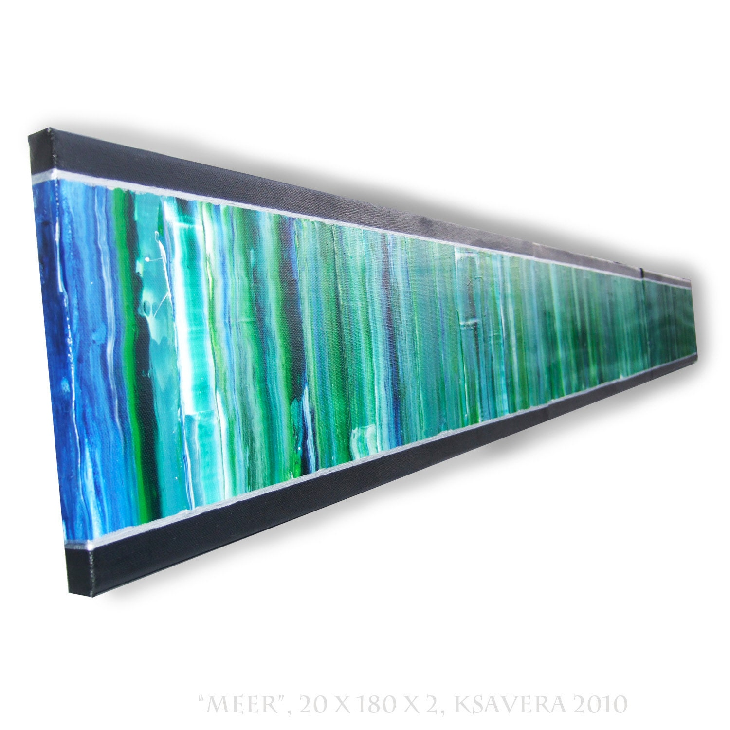 Painting abstract emerald green long vertical wall art on for Where to buy canvas art