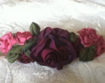 Burgundy and Pink Rose Barrette