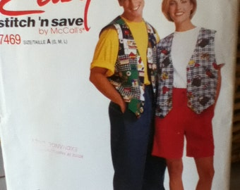 "McCalls Easy Vest, T-Shirt and Pants Pattern 7469 Bust/Chest 31""-40"", Hip 33""-42"""