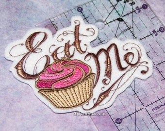 Eat Me Alice in Wonderland Pink Cupcake Iron On Embroidery Patch MTCoffinz