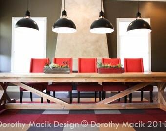 Custom Rectangular Dining Table Pine Wood