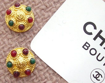 AUTHENTIC JEWELLED CHANEL Buttons  Sold In Pairs 18 mm