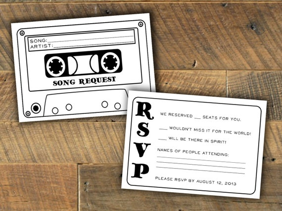 Cassette Tape Song Request Wedding Rsvp Card By