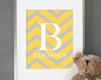 Chevron Nursery Decor - Baby Nursery Art - Baby Monogram Print - Custom Nursery Wall Art or Kids Room Wall Decor - Shown in Yellow & Gray
