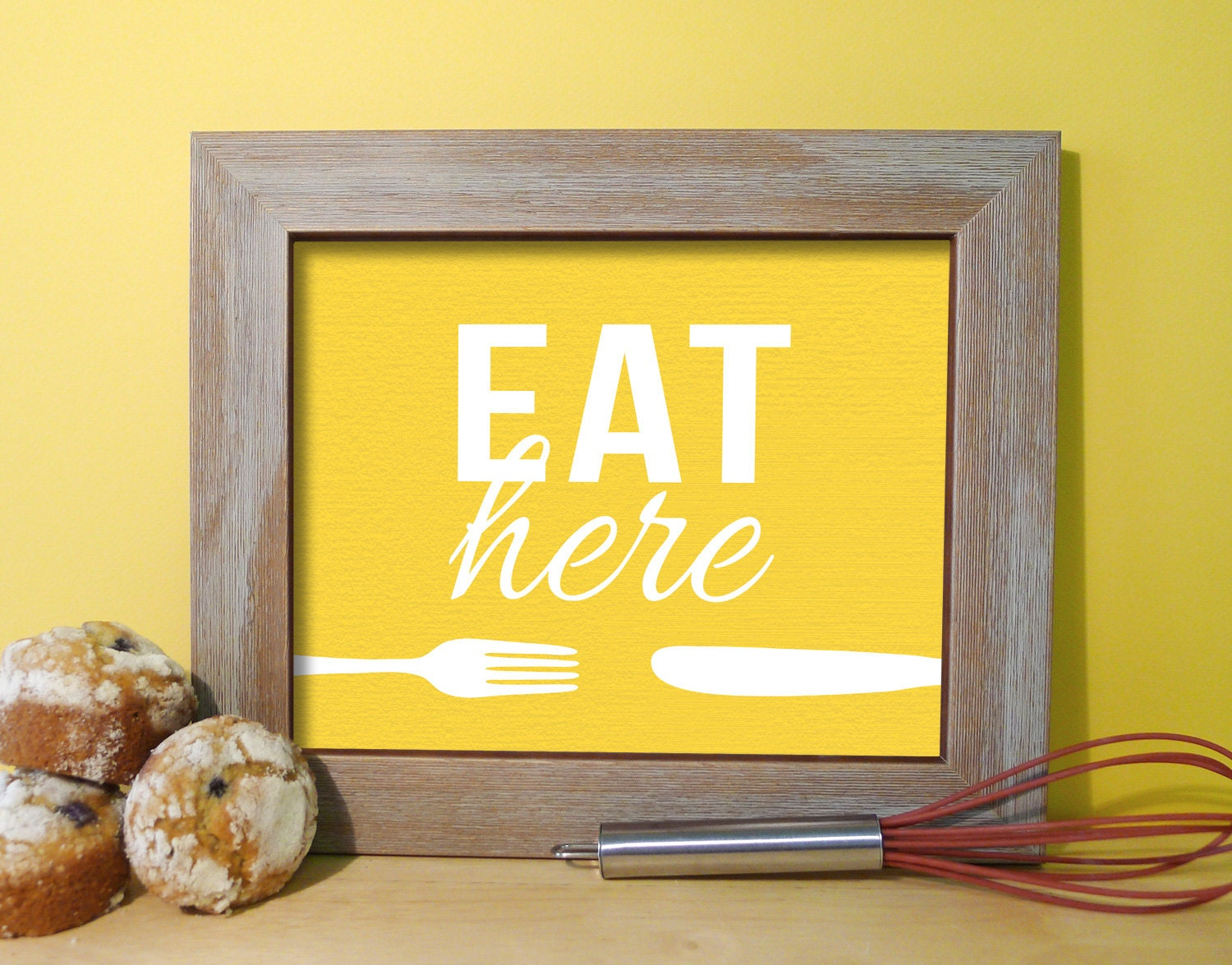 yellow decor decorating with zoom kitchen signs art print typography poster eat sign - Yellow Decor