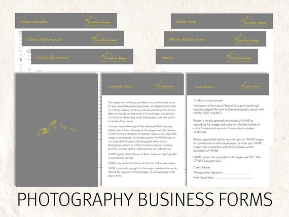 photography business forms kit editable templates 9 psd. Black Bedroom Furniture Sets. Home Design Ideas