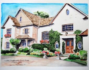 "8"" x 10"" Custom Watercolor House Home Portrait"