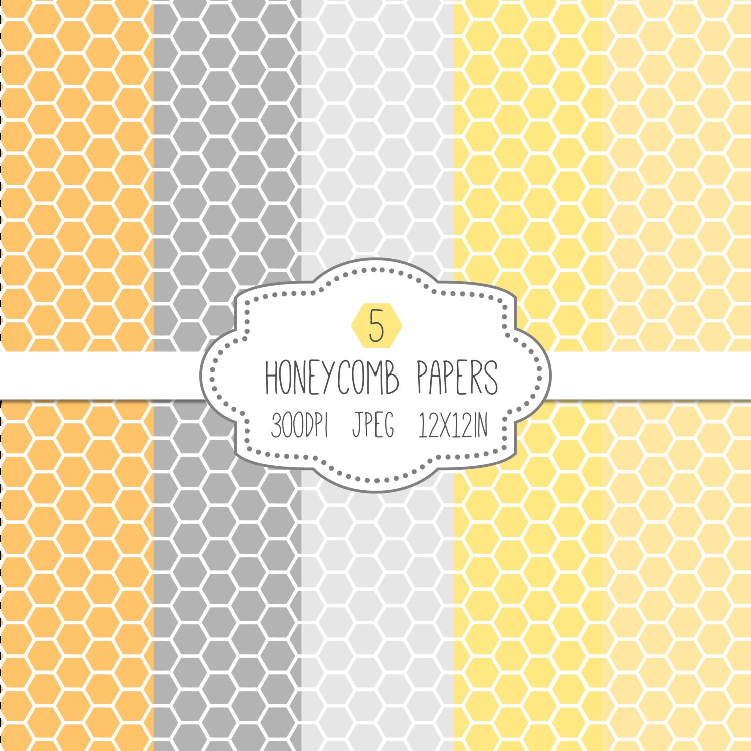 Honeycomb Paper Pack Digital Pattern Papers Yellow Gray