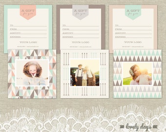 Photography Gift Certificate Templates set of three INSTANT DOWNLOAD