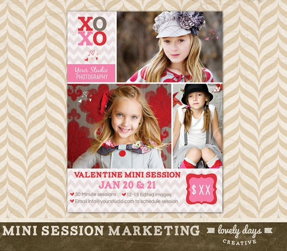 Valentines Day Mini Session Template Flyer Board Advertising