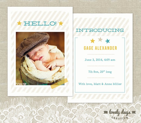 baby birth announcements templates for free - birth announcement template for baby boy instant download