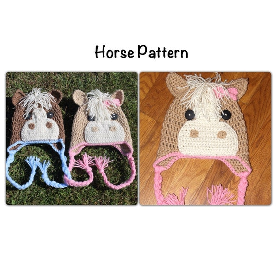 Free Crochet Pattern For Horse Hat : PDF Pattern for Crochet Horse Beanie. Newborn to adult sizes.