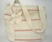 Bag With Red Stripes, Bag, Purse, Shoulder Summer Bag, Handbag, Vintage Fabric,Fabric Bag