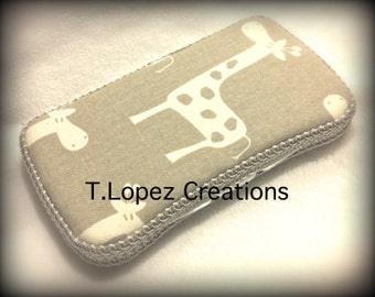 Custom TRAVEL Wipe Case - Taupe Giraffe Print