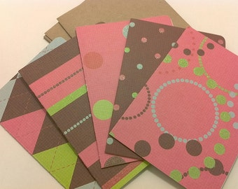 Pink and Brown blank note card set