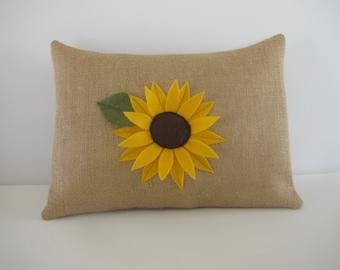 Sunflower PILLOW COVER Natural Burlap Yellow Felt Sunflower Pillow Cover [12x16]
