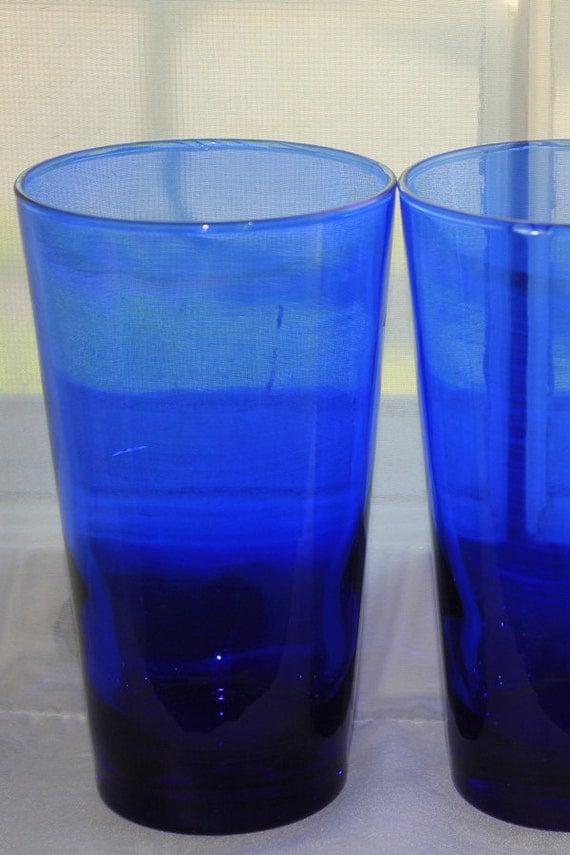 Vintage Anchor Hocking Cobalt Blue Drinking Glasses Set Of 3