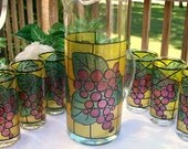 "Vintage Mid-Century West Virginia Glass w/Raised Grape Pattern Beverage Pitcher and 6 Tumblers ""Excellent""  With ORIGINAL BOX"