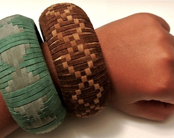 Suede Bangle Woven in a Spaced Hourglass Pattern