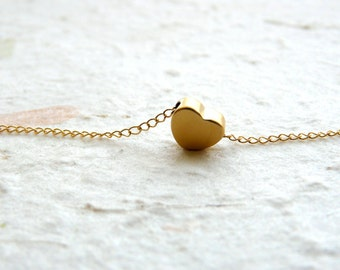 Tiny Heart necklace, Gold Filled necklace, Delicate necklace, Simple Tiny necklace, Bridesmaid necklace, Minimalist