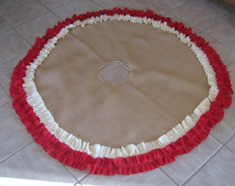Burlap Tree Skirt with Cream And Red Ruffle Trim