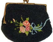 Antique Early 1900's Finely Beaded Coin Purse Black  with Rose Bouquet Collectors Take Note