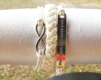 Infinity inspirational Friendship Leather Bracelet