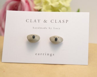 Koala earrings - beautiful handmade polymer clay jewellery by Clay & Clasp