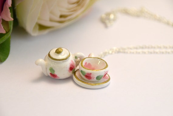 Teacup and Teapot Necklace - beautiful handmade polymer clay jewellery by Clay & Clasp