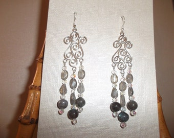 Labradorite and Sterling Silver Chandelier Earrings