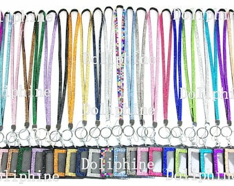 "Multi-Color Rhinestone Crystal Bling Necklace 18"" LANYARDs Key Chain Key Holder & Horizontal ID Badge Holder"
