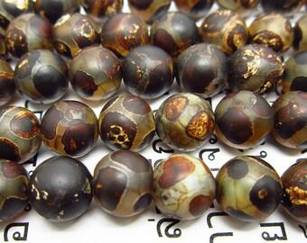 """15""""  Tibetan  Agate dZi  beads  round  bead  --8mm"""