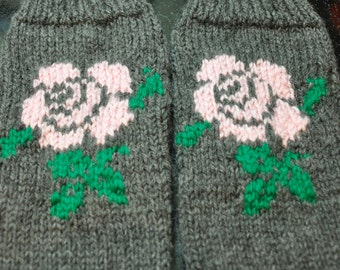 Alberta Wild Rose Hand Knit mittens