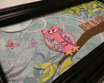 Pink and purple girl owl staring at a moon with butterflies. Personalized name frame for baby or child