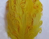 Nagorie Feather Pad, Yellow on Orange, Curled goose feather , headbands, accessories, baby, wedding