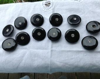 Vintage Rhinestone Plastic Black Buttons