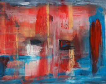 """Transmission 2. Original abstract oil painting measuring 24""""x36"""". Blues, reds, greys and yellows."""