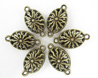 6pcs Oval Caged Hollow Bronze Look Links (F475)