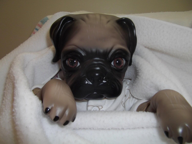16 Pug Dog Boy Doll Baby Puppy Bulldog Doe Suede