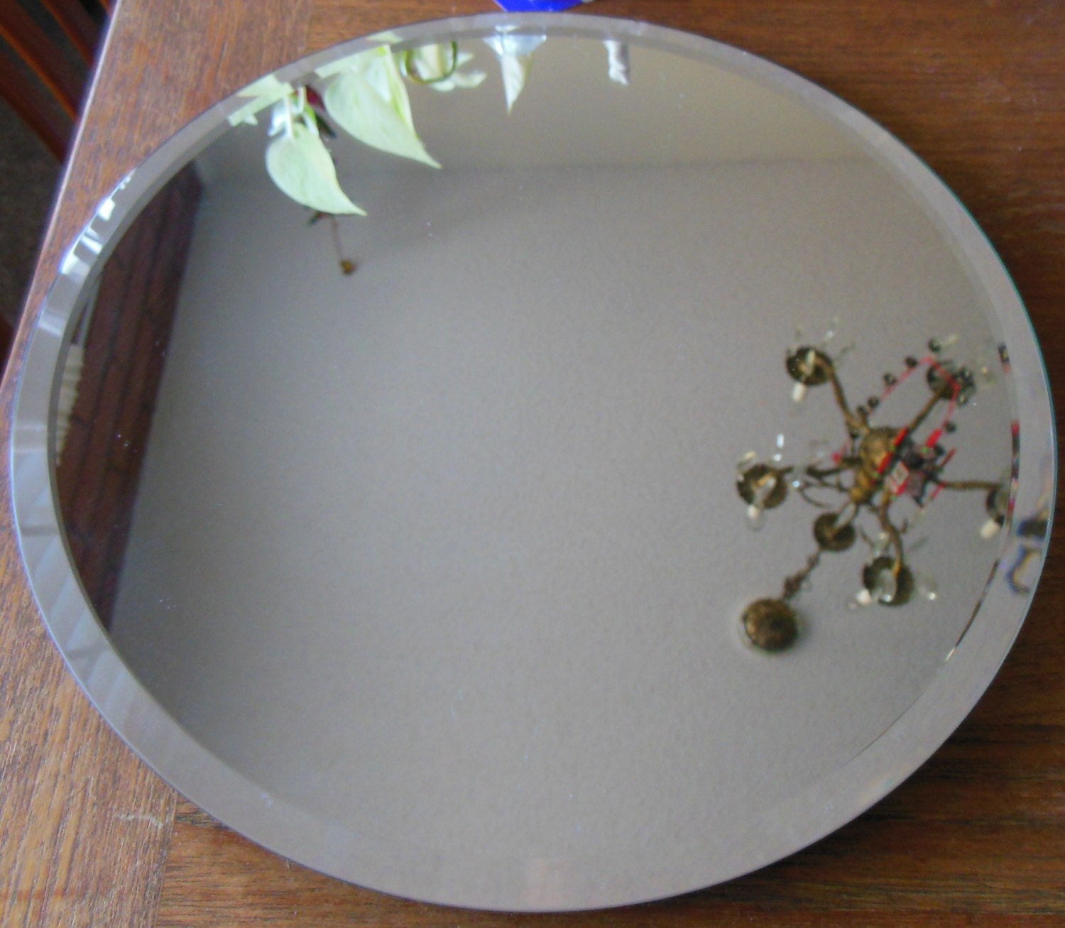 Lazy Susan Beveled Mirror Round Revolving Vanity Tray Made In