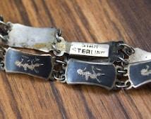 Antique Sterling Siam Bracelet Sterling Silver Black Enamel Band Bracelet 1940s