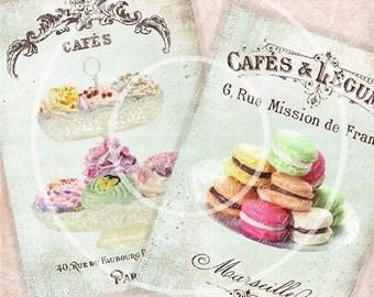 Digital Collage Sheet Vintage Cupcakes And Macaroons
